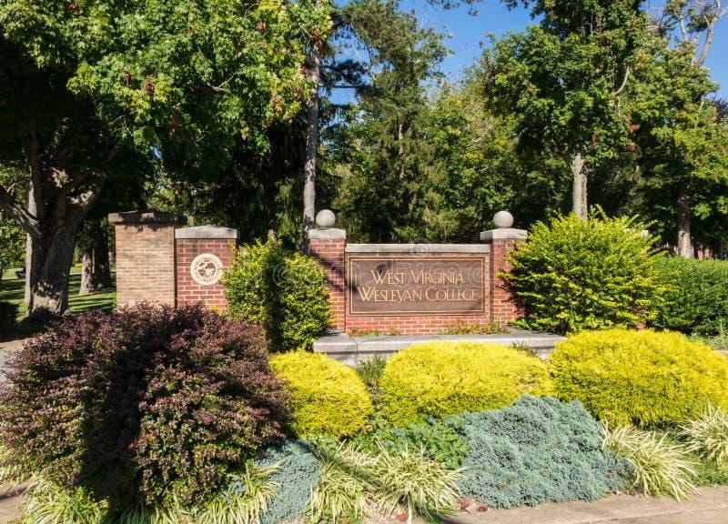 West Virginia Wesleyan College Buckhannon WV. BUCHANNON, WEST VIRGINIA - AUGUST 13, 2016: Entrance sign in grounds of West Virginia Wesleyan College in stock photo