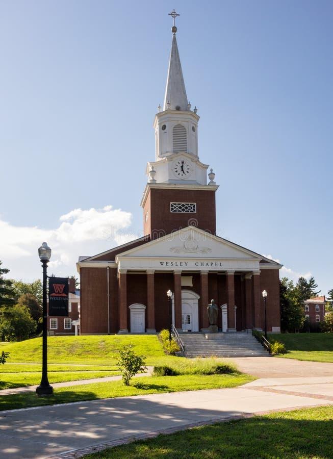 West Virginia Wesleyan College Buckhannon WV. BUCHANNON, WEST VIRGINIA - AUGUST 13, 2016: Wesley Chapel in grounds of West Virginia Wesleyan College in royalty free stock photo