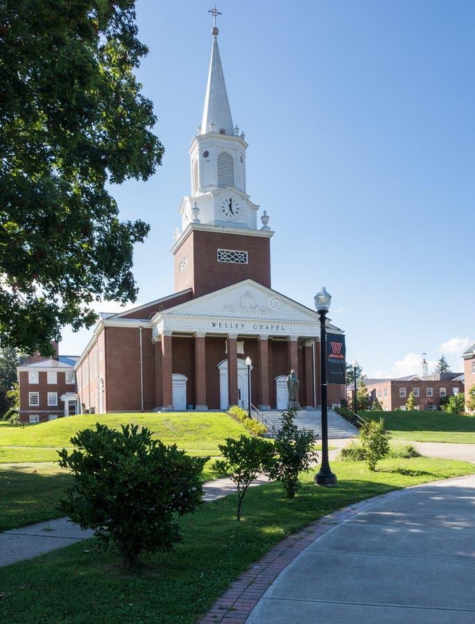 West Virginia Wesleyan College Buckhannon WV. BUCHANNON, WEST VIRGINIA - AUGUST 13, 2016: Wesley Chapel in grounds of West Virginia Wesleyan College in stock images