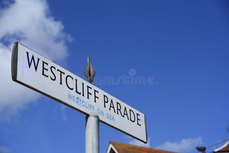 Westcliff-Parade, Westcliff auf Meer, Southend, Essex, BRITISCHES Straßenschild lizenzfreies stockbild