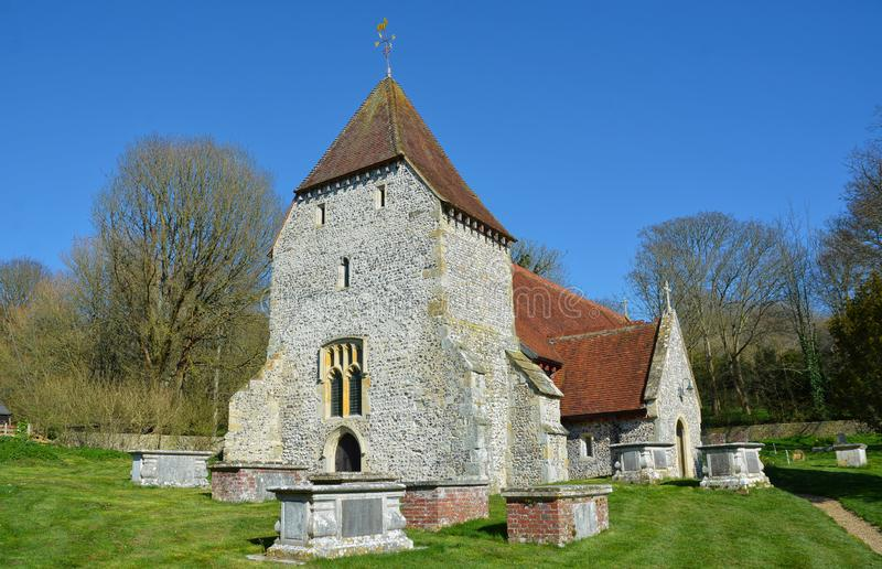 Westdean, All Saints Church. East Sussex. UK. Westdean church is C11 in origin, grade 1 listed is of great antiquity with parts of the building dating back to stock images