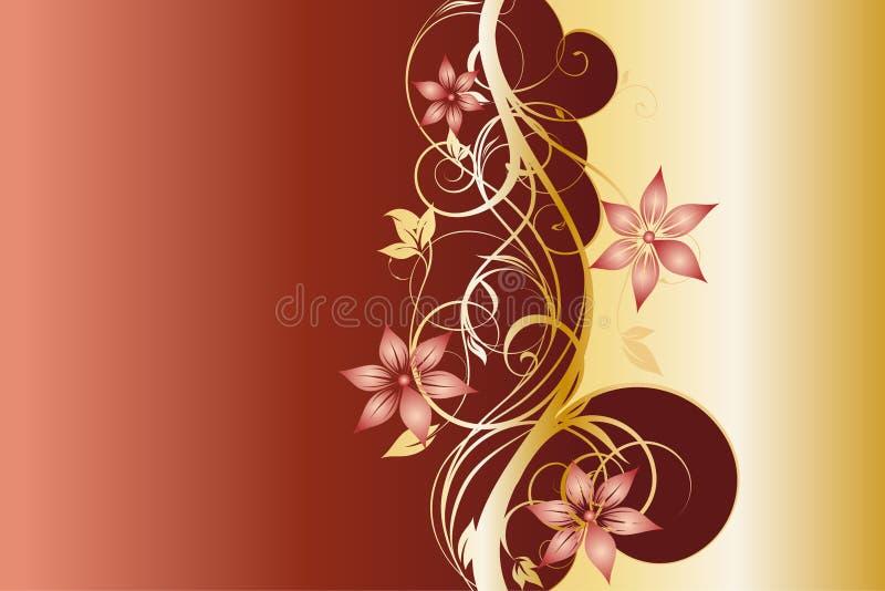Westelijk Gouden en Donkerrood Bloemenmalplaatje Als achtergrond vector illustratie