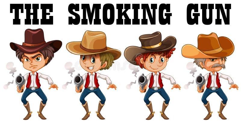 Westelijk thema met cowboy die kanonnen schieten vector illustratie