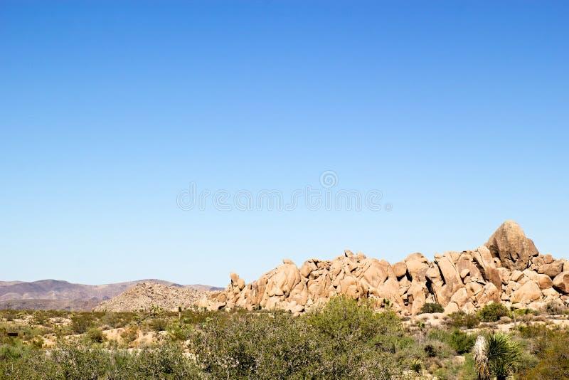 Westelijk woestijnlandschap met groene borstel in de voorgrond en rotsvormingen en bergen op de achtergrond stock foto