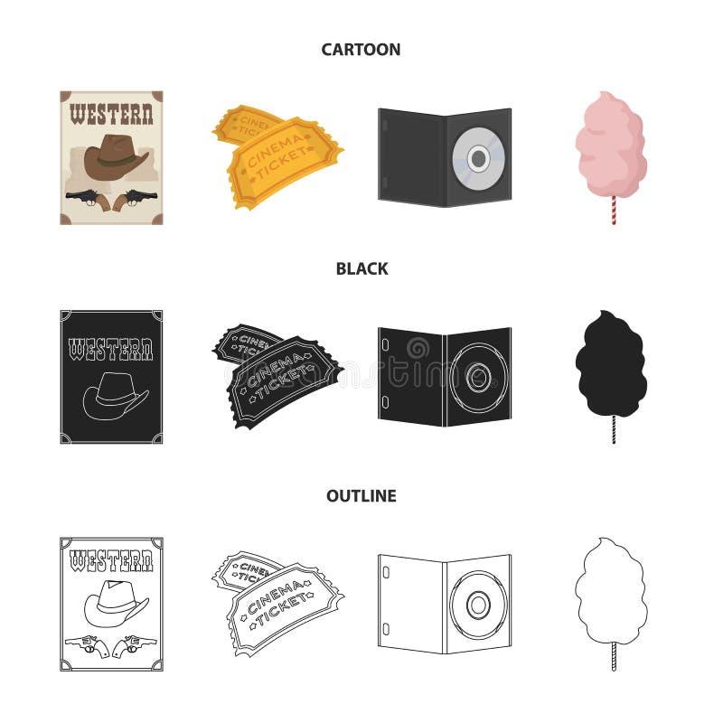 Westelijke bioskoop, kaartjes, zoete watten, film op DVD Pictogrammen van Filmy en bioskoop de vastgestelde inzameling in beeldve vector illustratie