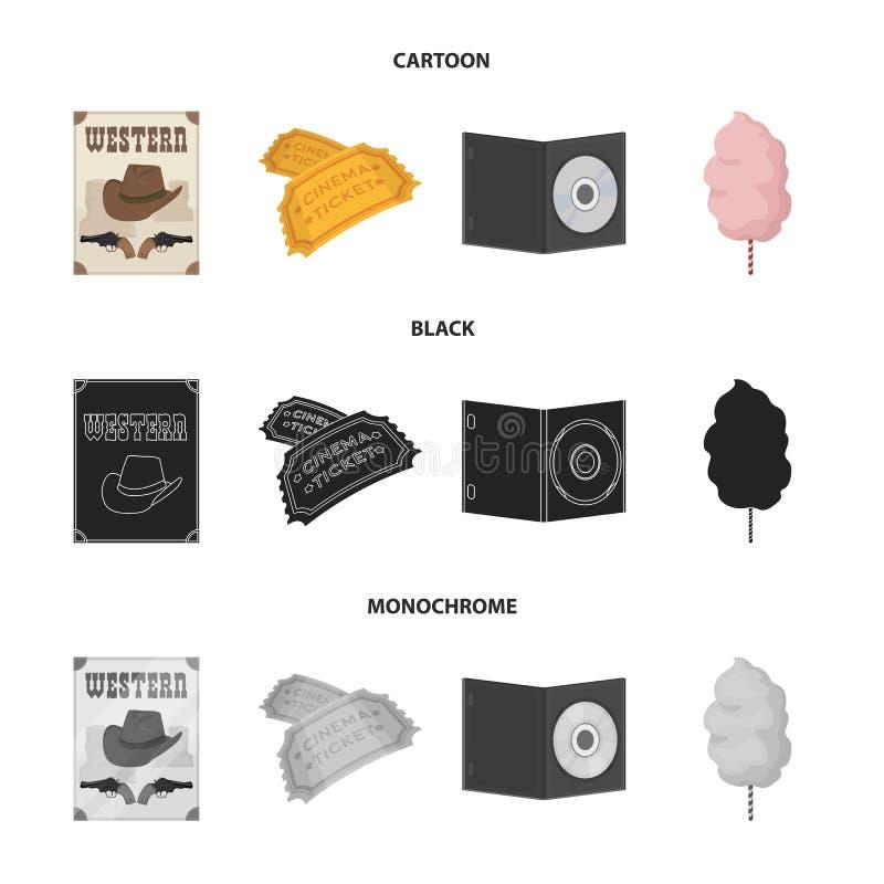 Westelijke bioskoop, kaartjes, zoete watten, film op DVD Pictogrammen van Filmy en bioskoop de vastgestelde inzameling in zwart b vector illustratie