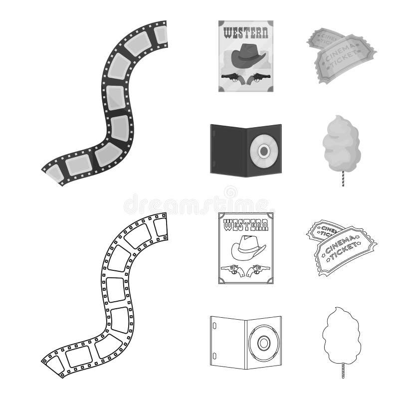 Westelijke bioskoop, kaartjes, zoete watten, film op DVD Pictogrammen van Filmy en bioskoop de vastgestelde inzameling in zwart-w royalty-vrije illustratie
