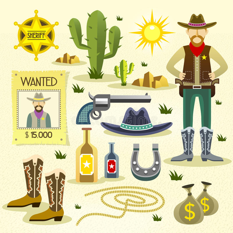 Westelijke geplaatste cowboy vlakke pictogrammen royalty-vrije illustratie