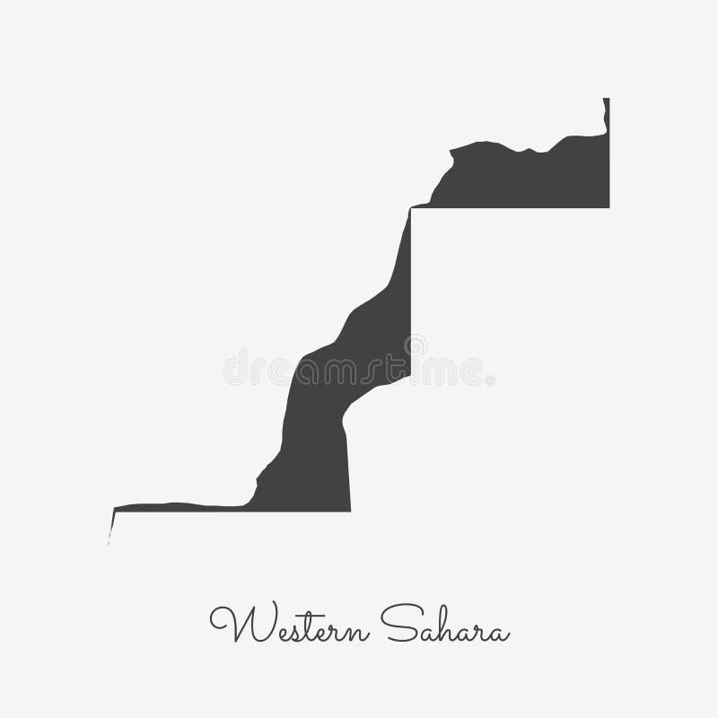 Westelijke het gebied van de Sahara kaart: grijs overzicht op wit stock illustratie