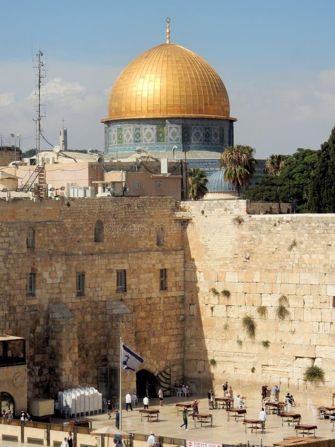 Westelijke Muur, godsdienstige plaats Joodse mensen, Koepel van de Rots, Islamitisch heiligdom, Oude Stad van Jeruzalem, Israël royalty-vrije stock foto