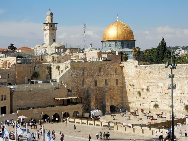 Westelijke Muur, godsdienstige plaats Joodse mensen, Koepel van de Rots, Islamitisch heiligdom, Oude Stad van Jeruzalem, Israël stock afbeeldingen