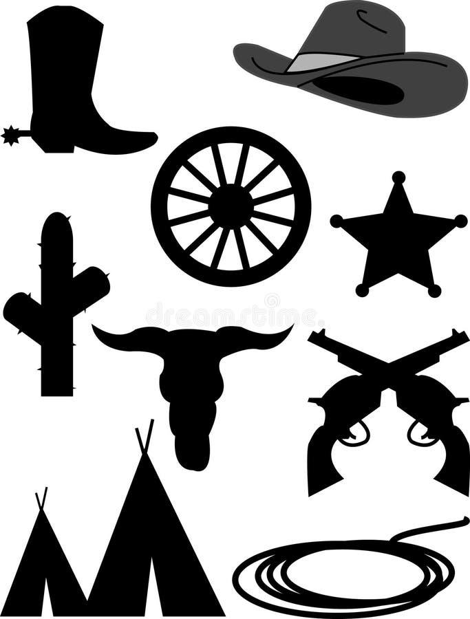 Westelijke pictogrammen royalty-vrije illustratie