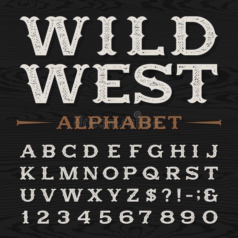 Westelijke retro vuile alfabet vectordoopvont royalty-vrije illustratie