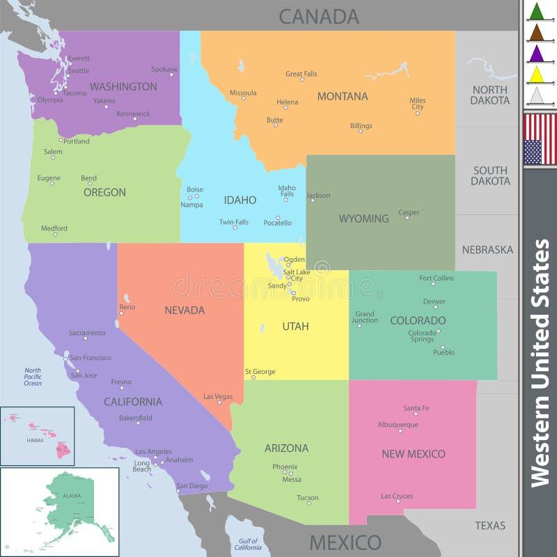 Westelijke Verenigde Staten royalty-vrije illustratie
