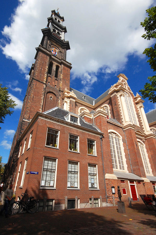 Westerkerk教会在阿姆斯特丹 库存照片