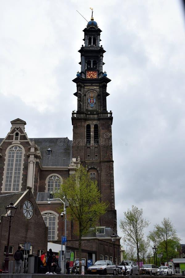 Westerkerk berömd kyrka, i Amsterdam arkivbild