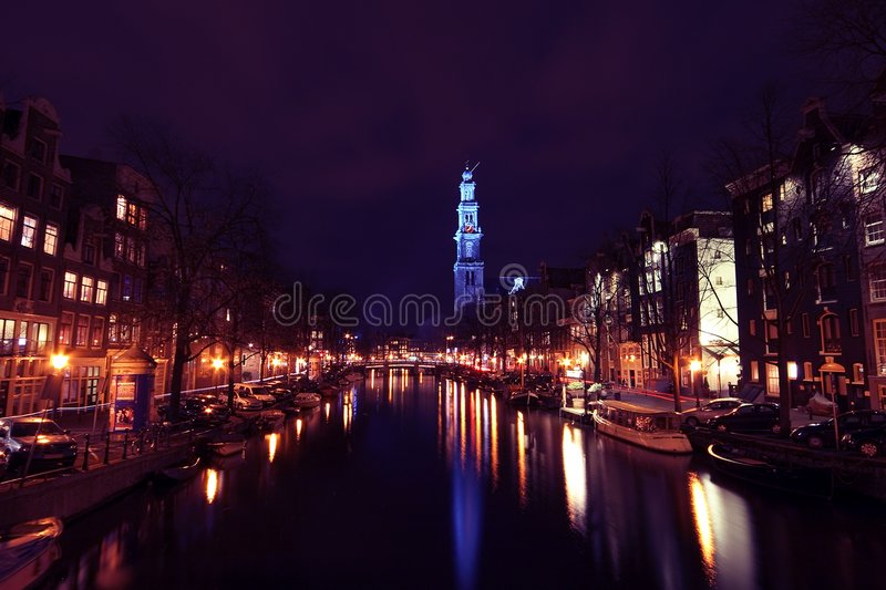 Download Westerkerk canal night stock photo. Image of church, netherlands - 3658610