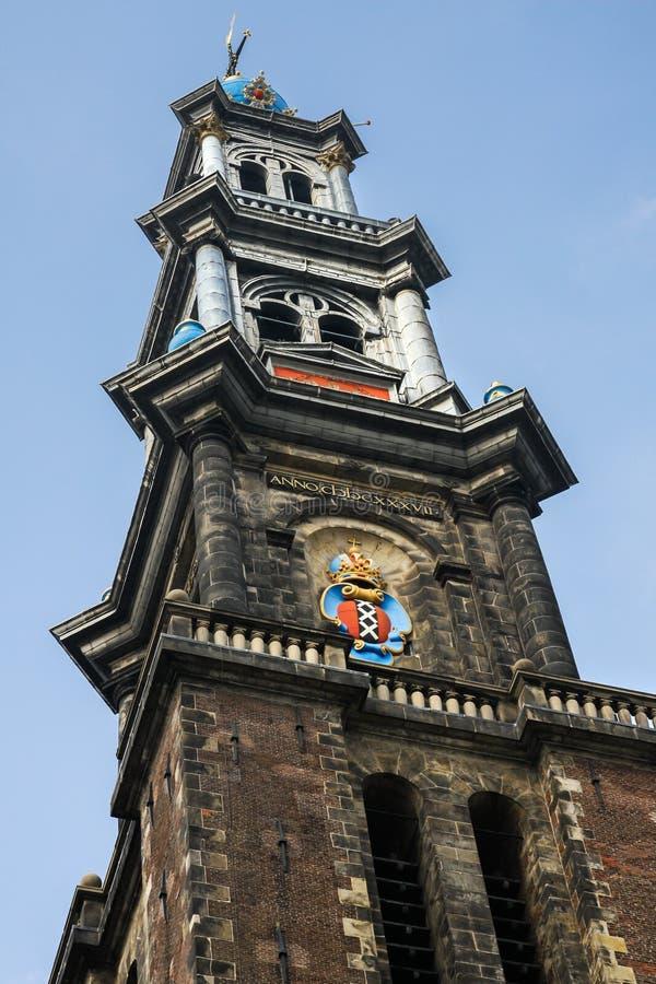 Westerkerk-Kirchturm in Amsterdam lizenzfreies stockfoto