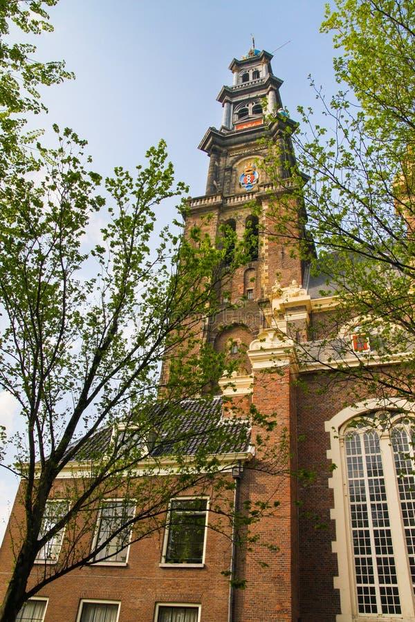 Westerkerk-Kirchturm in Amsterdam lizenzfreie stockfotografie