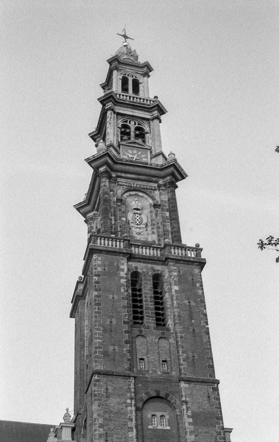Westerkerk kyrka Amsterdam arkivbild