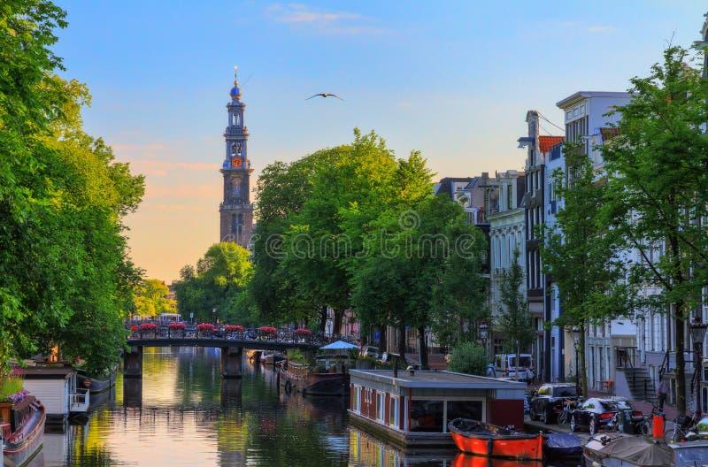Westerkerk sommarsoluppgång royaltyfri bild