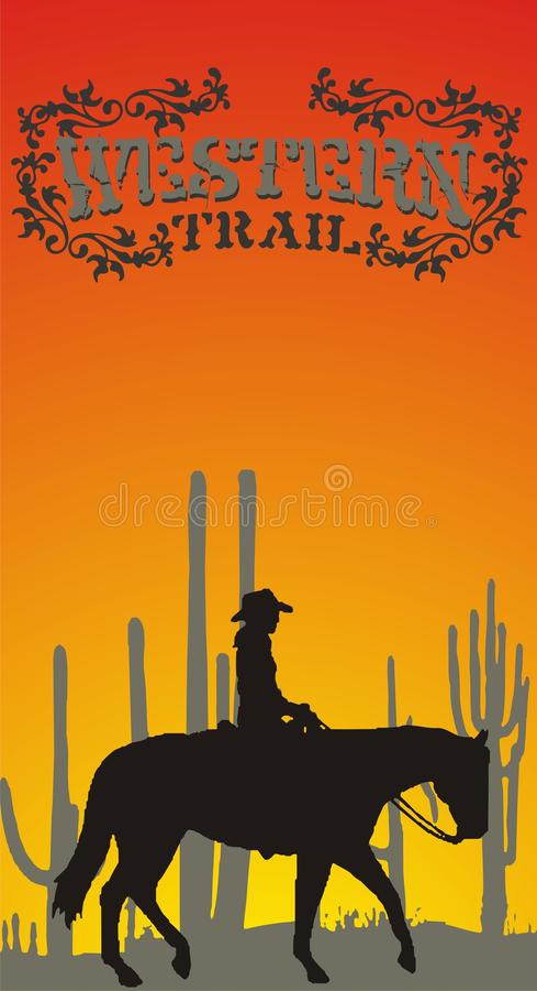 Western. Graphic design on a black horse western American cowboy girl royalty free illustration
