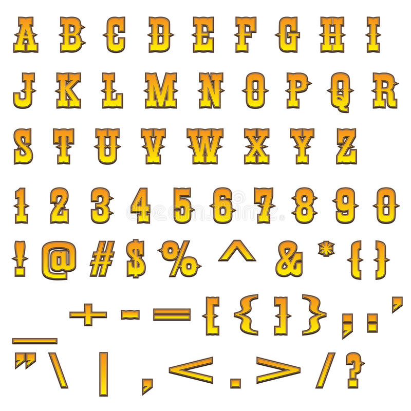 Download Western alphabet stock vector. Image of western, uppercase - 17347196