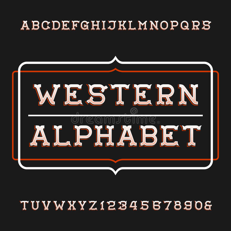 Western Alphabet Vector Font Vintage Type Letters And Numbers Typeset For Labels Headlines Posters Etc