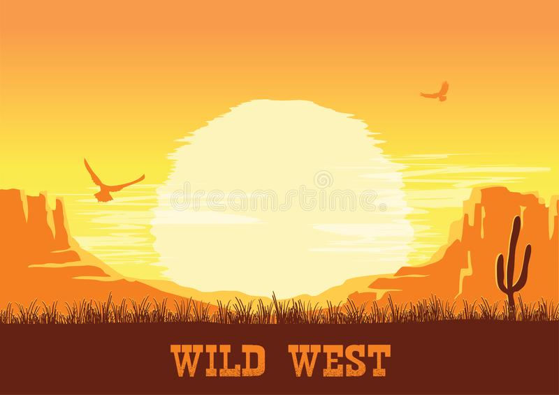 Western American desert nature background. Vector prairie landscape with cactuses and space for text stock illustration