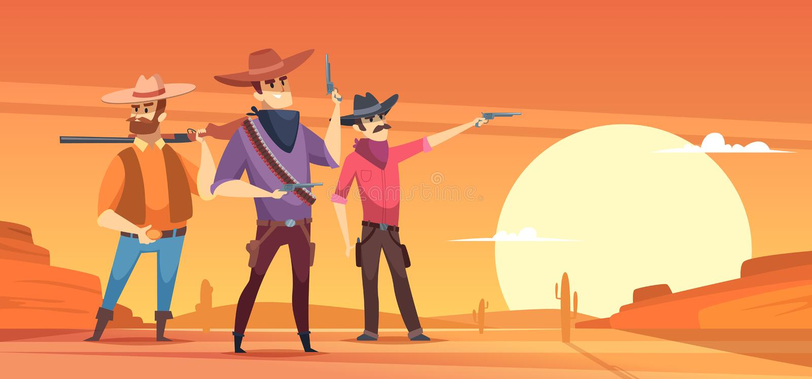 Western background. Dessert silhouettes and cowboys on horses wildlife vector illustrations royalty free illustration