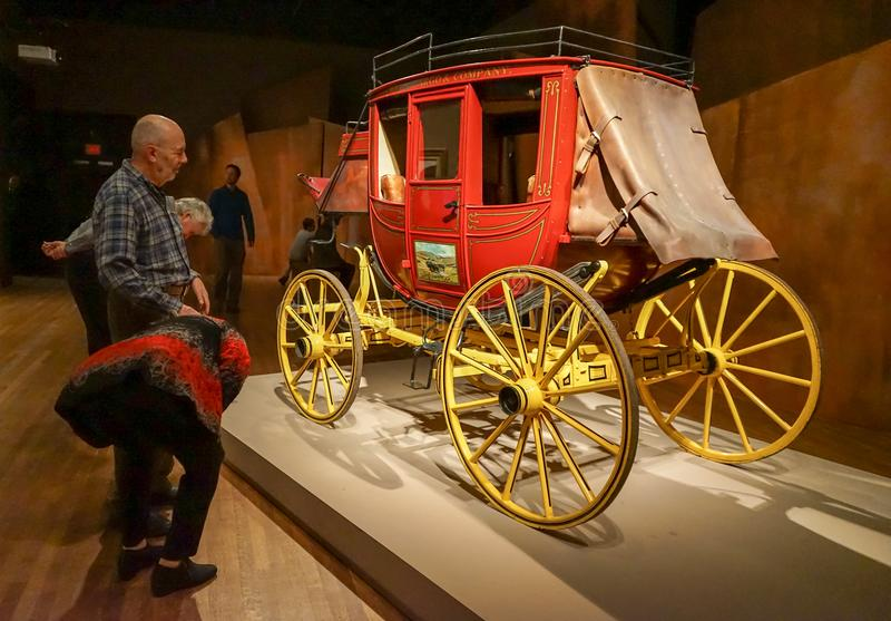 Western culture at Montreal Museum. A replica of Wells Fargo coach at Montreal Museum of Fine Arts for the exhibition named Western stock image
