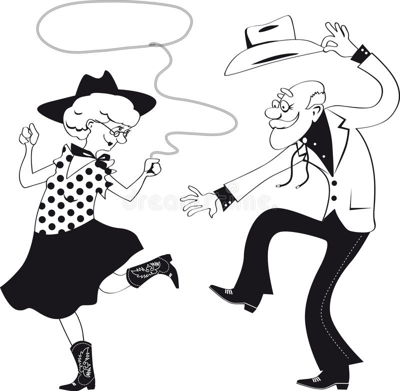 Western dance. Vector line art of a senior couple dressed in traditional western costumes dancing square dance or contradance, EPS 8, no white objets royalty free illustration