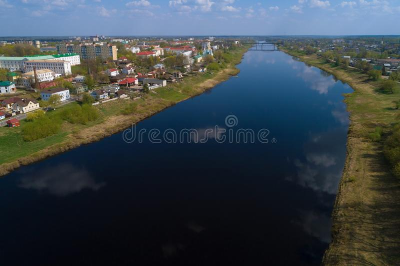 The Western Dvina River in Polotsk aerial photography. Belorussia. The Western Dvina River in Polotsk on a sunny April day aerial photography. Belorussia royalty free stock photography