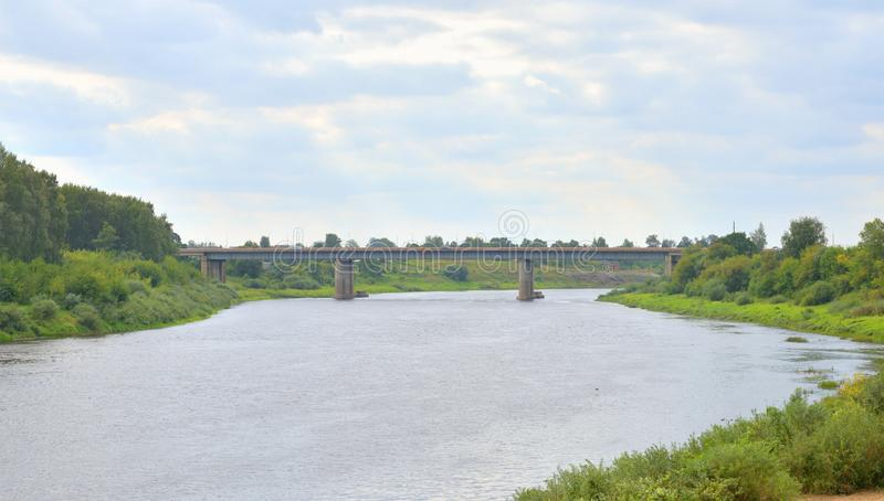 Western Dvina river. At cloud summer day in Polotsk, Belarus royalty free stock photography