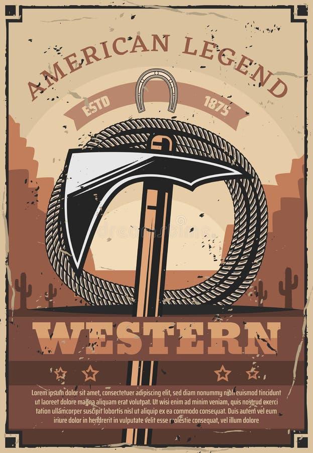 Western, dziki zachód, Indiański tomohawk i arkana, royalty ilustracja