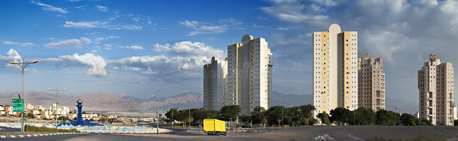 Western entrance to Eilat city,Israel. View on Eilat and Aqaba from western entrance stock images