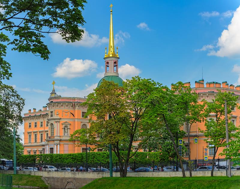 Western facade of Mikhailovsky Castle in Saint-Petersburg, Russia. Western facade of St. Michael's Castle, also called Mikhailovsky Castle or Engineers' Castle stock photography