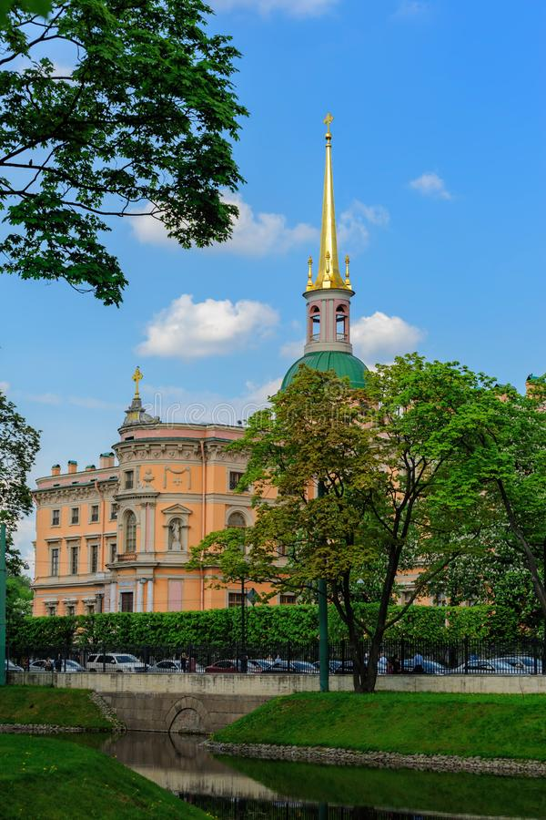Western facade of Mikhailovsky Castle in Saint-Petersburg, Russia. Western facade of St. Michael's Castle, also called Mikhailovsky Castle or Engineers' Castle stock photos