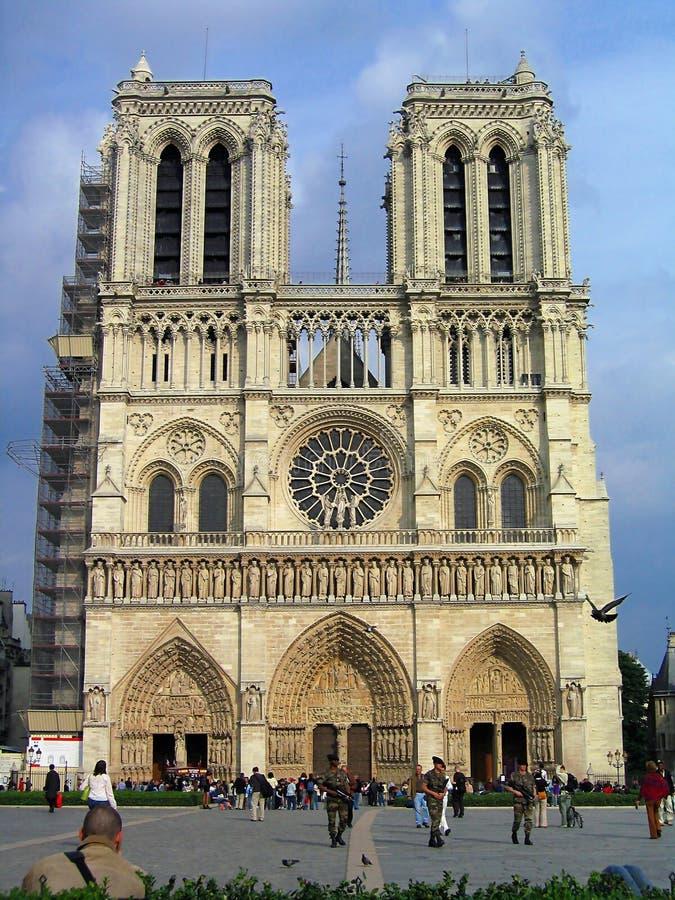 Towering Notre Dame Cathedral on Ile de la Cite, Paris, France royalty free stock photos