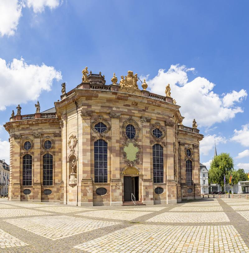 Western facade and tower of Ludwigskirche Church in Saarbrucken, Germany. Western facade and tower of Ludwigskirche Church in Saarbruecken, Germany royalty free stock photo