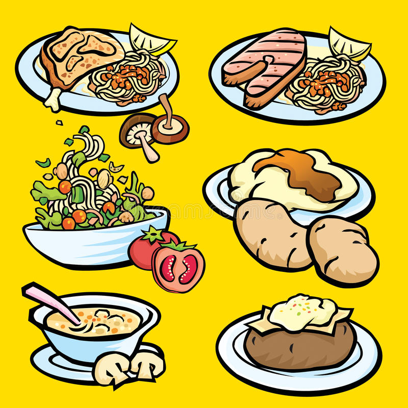 Download Western food stock illustration. Image of mushroom, spaghetti - 15544650