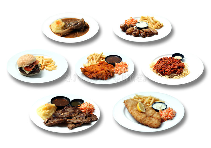 Western food. Fish and chips, lamb shank, chicken wings, Beef burger, lamb chop, chicken chop, spaghetti stock image