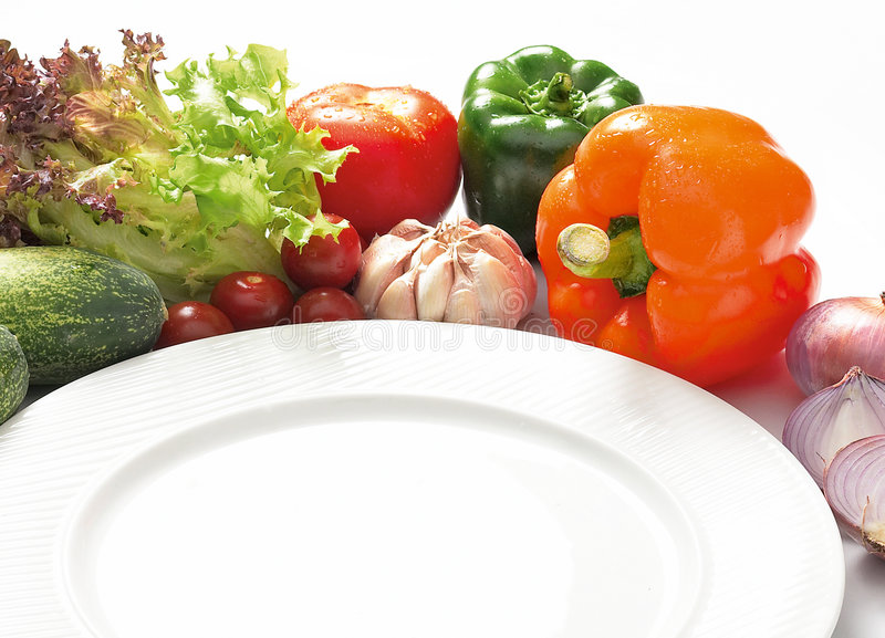 Western food. Preparation and white plate stock images