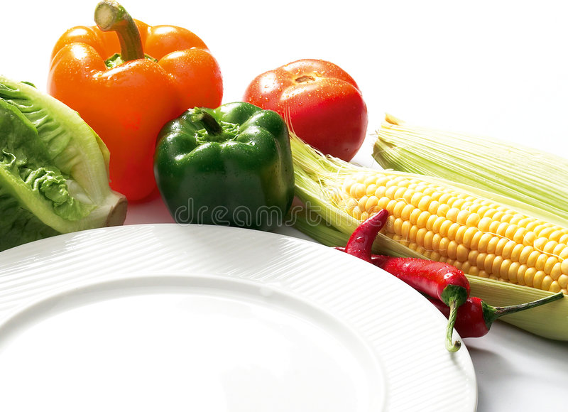 Western food. Preparation and white plate royalty free stock photos