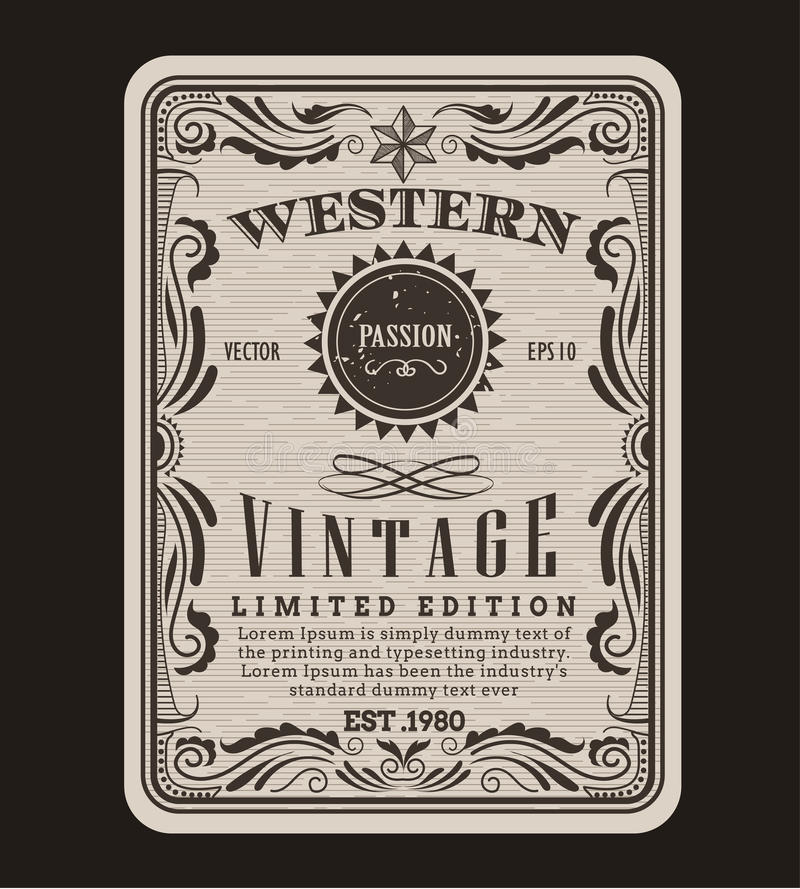 Western frame border vintage label hand drawn engraving retro. Antique vector illustration vector illustration