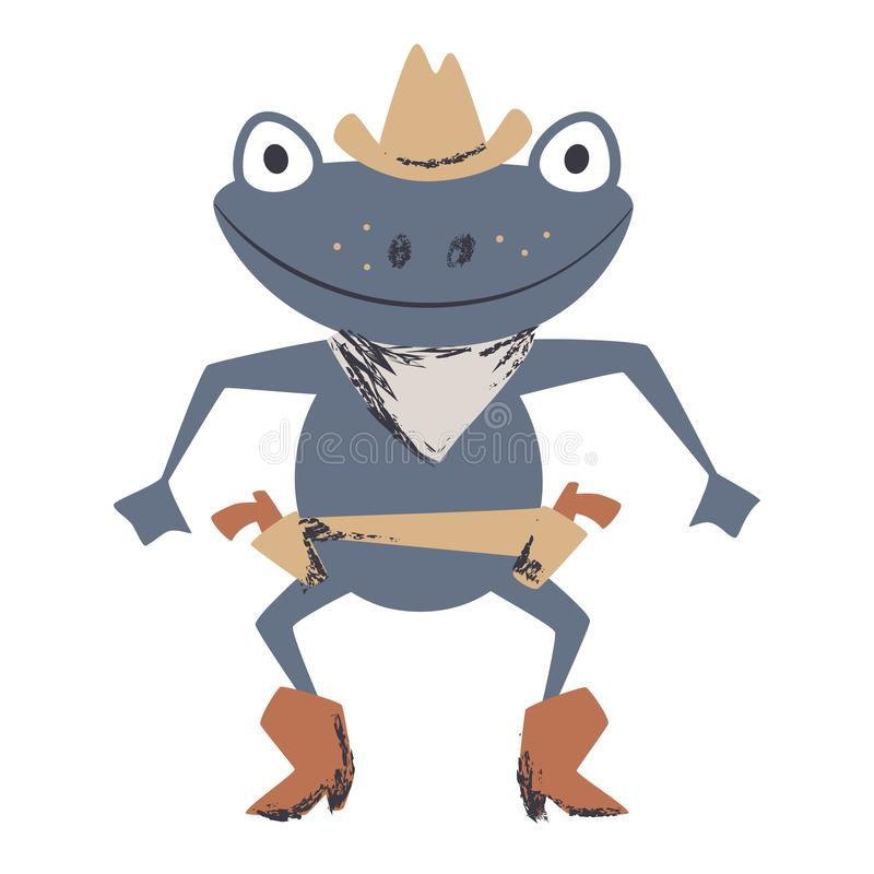 Western frog duel cute print. Wild west animal with hat, boot, gun. royalty free illustration