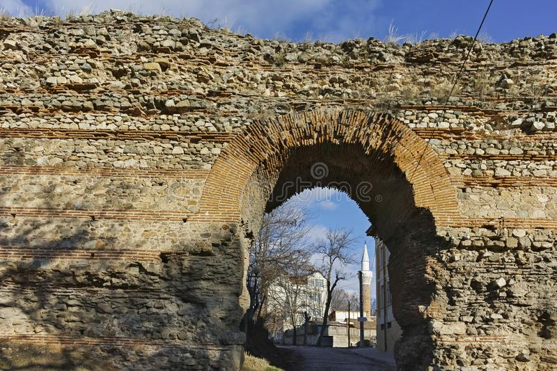 The Western gate of Diocletianopolis Roman city wall, town of Hisarya, Bulgaria. The Western gate of Diocletianopolis Roman city wall, town of Hisarya, Plovdiv royalty free stock image