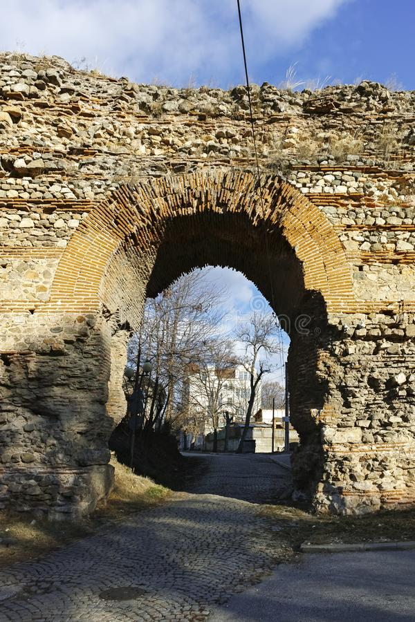 The Western gate of Diocletianopolis Roman city wall, town of Hisarya, Bulgaria. The Western gate of Diocletianopolis Roman city wall, town of Hisarya, Plovdiv stock images