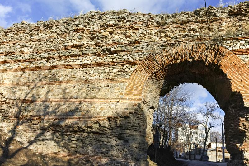 The Western gate of Diocletianopolis Roman city wall, town of Hisarya, Bulgaria. The Western gate of Diocletianopolis Roman city wall, town of Hisarya, Plovdiv royalty free stock photo