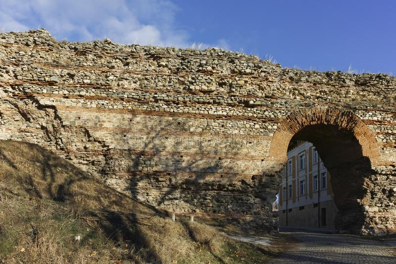 The Western gate of Diocletianopolis Roman city wall, town of Hisarya, Bulgaria. The Western gate of Diocletianopolis Roman city wall, town of Hisarya, Plovdiv royalty free stock images